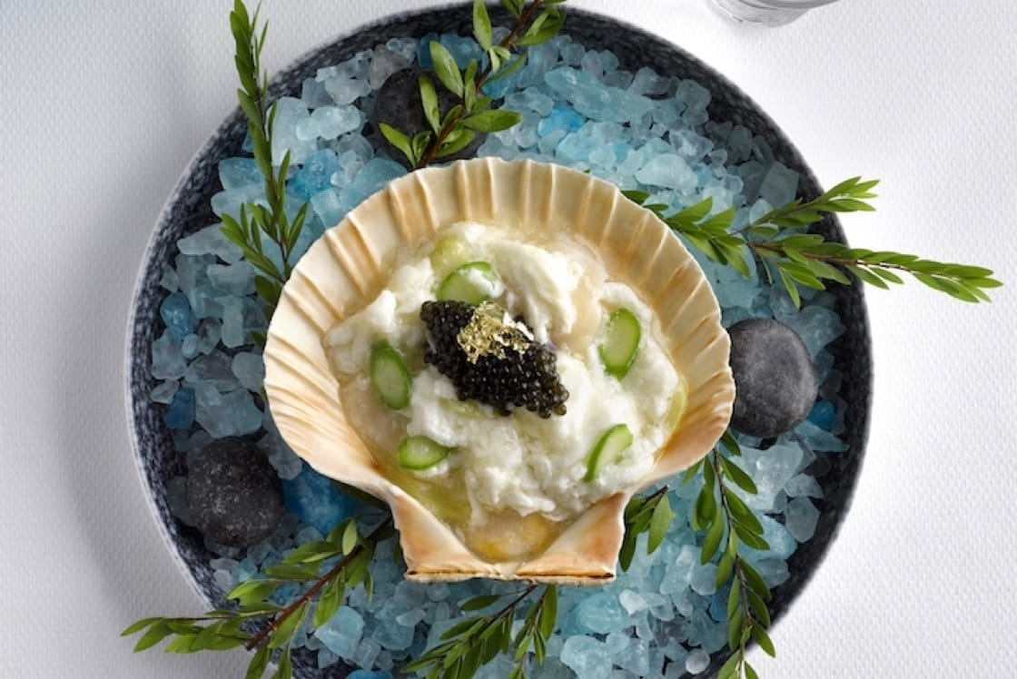 Chinoiserie's Scallop Har Gow Appetiser. (Credit: Chinoiserie)