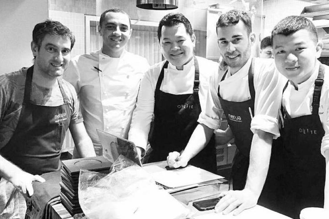 Chef Josean Alija (extreme left) and chef Julien Royer of Odette (second from left) at a four hands dinner at Odette last month. (Credit: Odette Facebook)