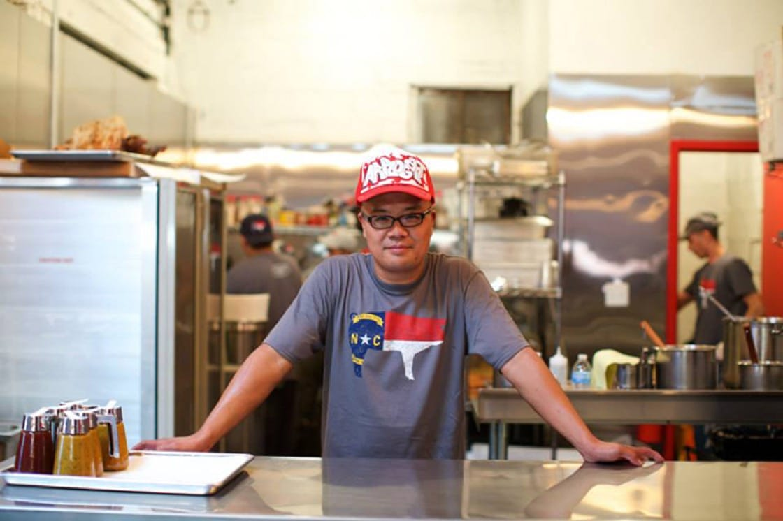 Pitmaster/owner Tyson Ho has an affinity for traditional North Carolina barbecue.