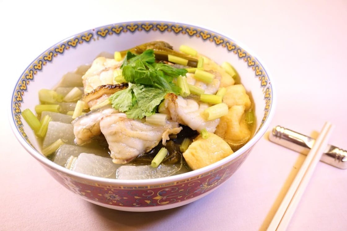 Poached giant grouper with pickled Chinese cabbage and fried tofu puff. (Pic: Ada Au)