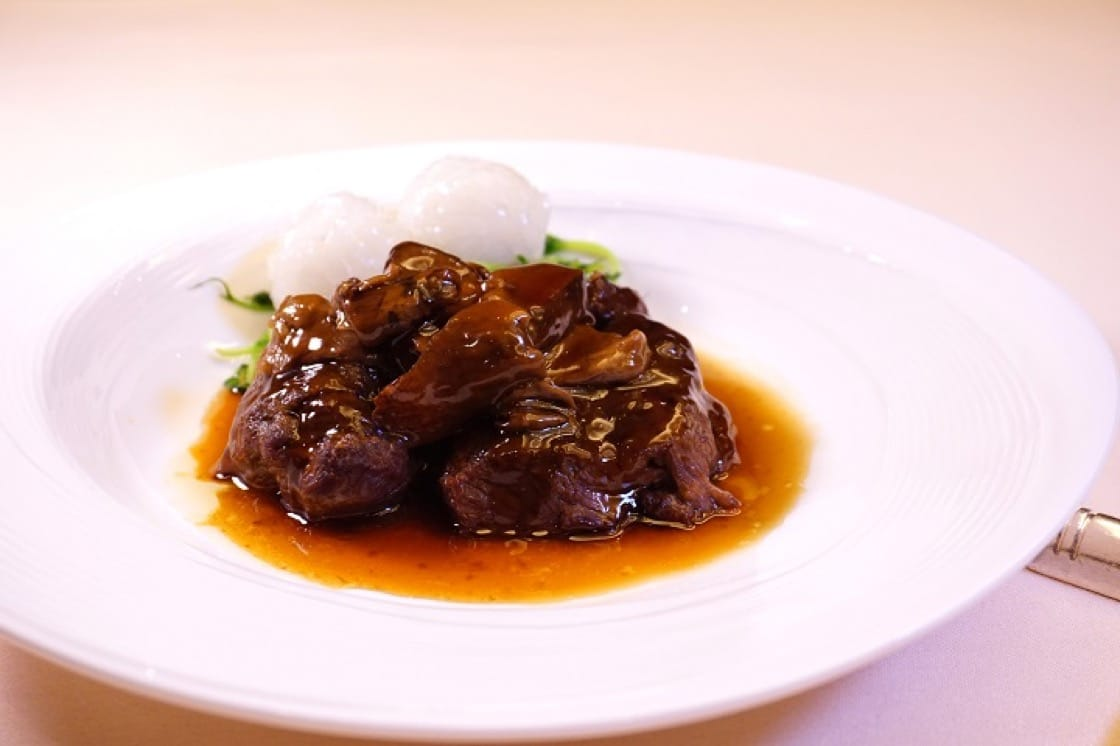 In poached wagyu beef cheek with porcini mushroom, the beef cheeked is first braised till tender, and then boiled with porcini, until the fungus fragrance and the beef's umami meld together. (Pic: Ada Au)