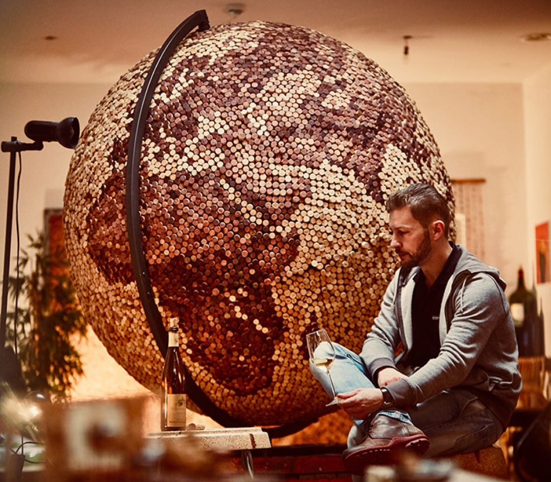 """""""Globe of Corks"""" is made of nearly 17,000 corks and took about two years to complete."""