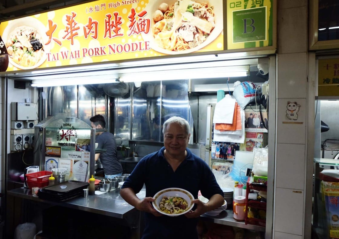 Tai Wah Pork Noodle's Tang Chai Chye with his signature bowl of bak chor mee. (Credit: Kenneth Goh)