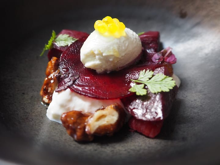 One of the dishes that were improved over the Tasting Room sessions is the Beetroot With Stracciatella Cheese, Smoked Walnut & Horseradish. (Credit: Kenneth Goh)