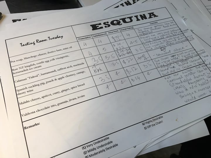 In Esquina's Tasting Room sessions, diners can rate dishes and write their feedback on the presentation, flavours and price point of the dishes. (Credit: Kenneth Goh)