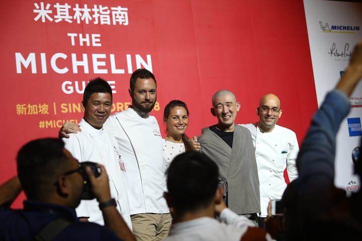 (from left) First-time one-Michelin-star awardees: Tim Lam of Jiang-Nan Chun, Mathieu Escoffier of Ma Cuisine, Katrina Wheeldon-Pynt of Burnt Ends, Tomoo Kimura of Sushi Kimura and Ivan Brehm of Nouri.