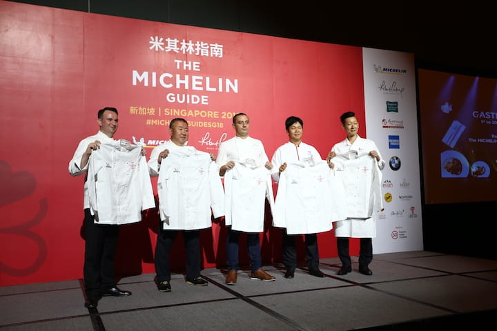 The five chefs from two-Michelin-starred restaurants: (from left) Chef Sebastien Lepinoy of Les Amis, Chef Tetsuya Wakuda of Waku Ghin, Chef Julien Royer of Odette, Chef Chen Kentaro of Shisen Hanten and Chef Yoshio Sakuta of Shoukouwa