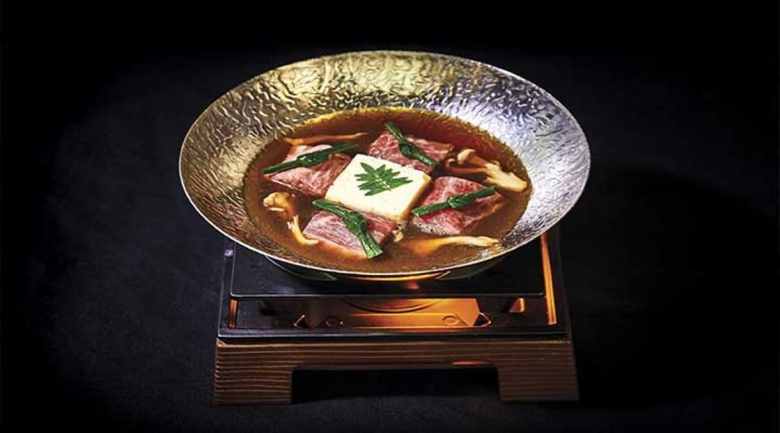 Sukiyaki French onion-soup with Kobe beef and momen tofu.