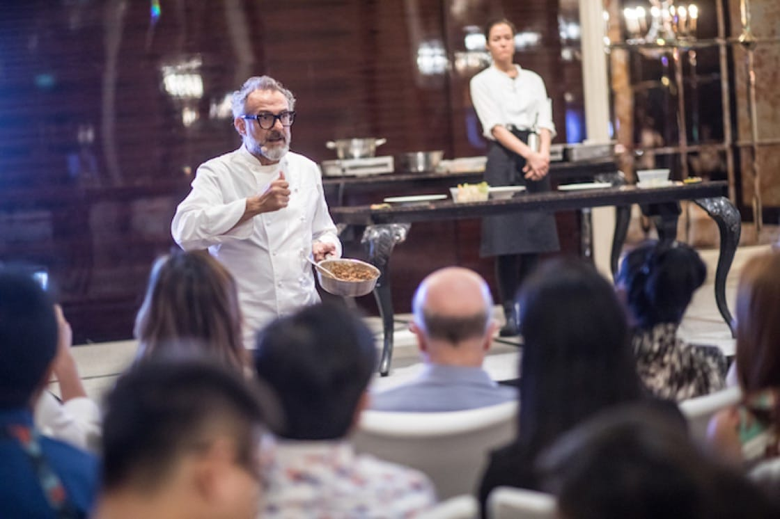 Massimo Bottura shared the inspiration behind his three dishes at a cooking demonstration in Singapore. (Photo courtesy of American Express.)