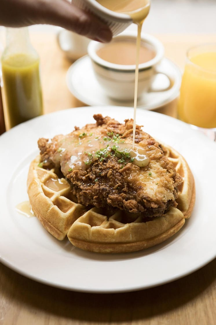 Fried chicken and waffles at Clinton Street Baking Company. (Photo by Mark Weinberg.)