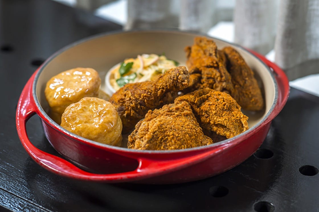 Fried chicken and biscuits at The Dutch. (Photo by Noah Fecks.)