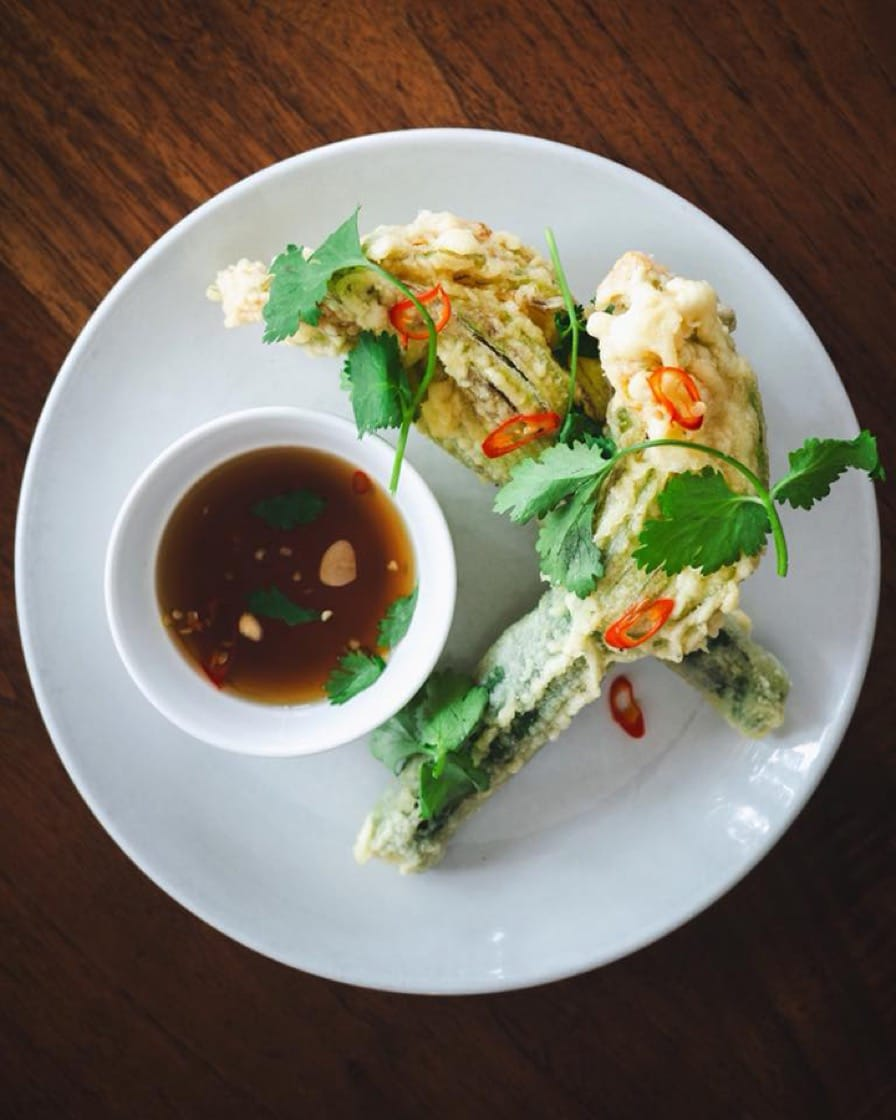 Zucchni blossom tempura, nam pla and cilantro is a favorite at Pidgin. (Photo: Pidgin Facebook page.)
