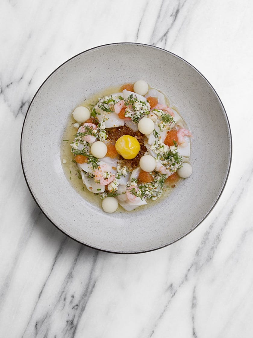 Cod with shrimp, potato, löjrom and brown butter. (Photo by Signe Birck.)