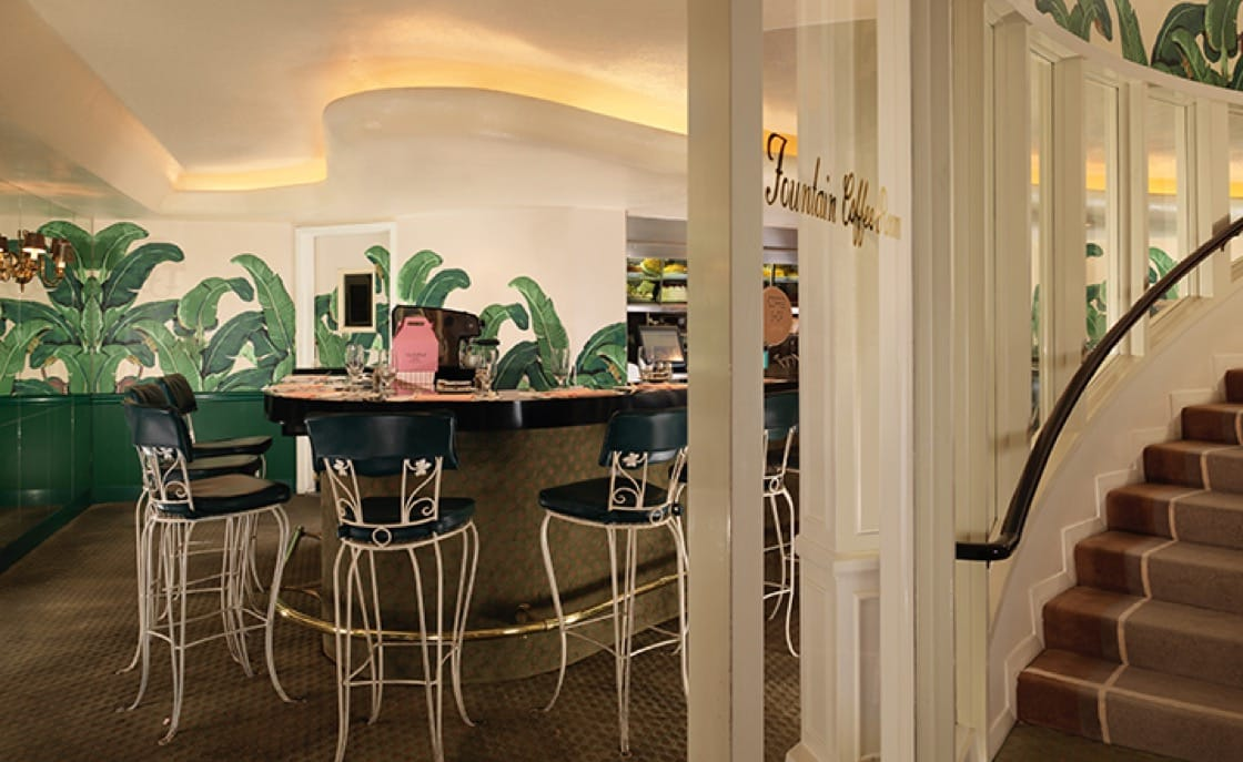 The Fountain Coffee Room. (Photo courtesy of The Beverly Hills Hotel.)