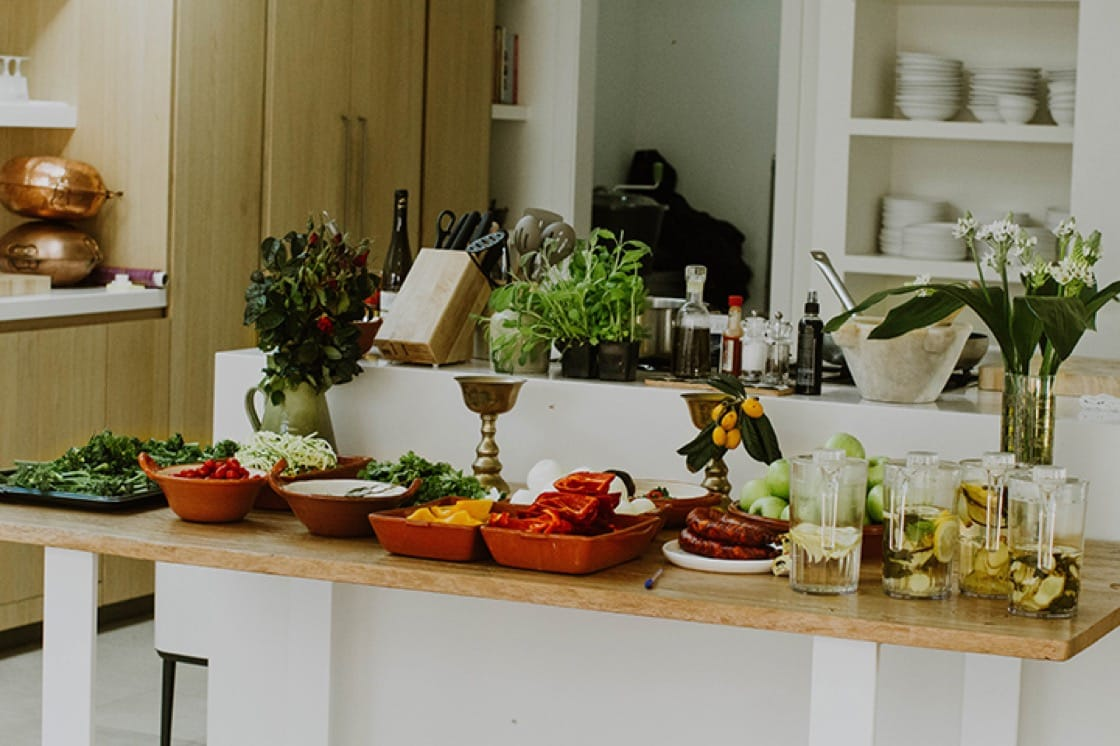 Spread of ingredients in preparation for making Cataplana at Soul Wellness Travels's Retreat in Olhão, Portugal this April. (Photo by Penelope Freitas.)