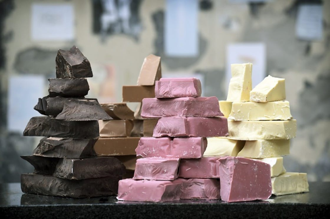 The four types of chocolate offered by Barry Callebaut: dark chocolate, milk chocolate, white chocolate and ruby chocolate.
