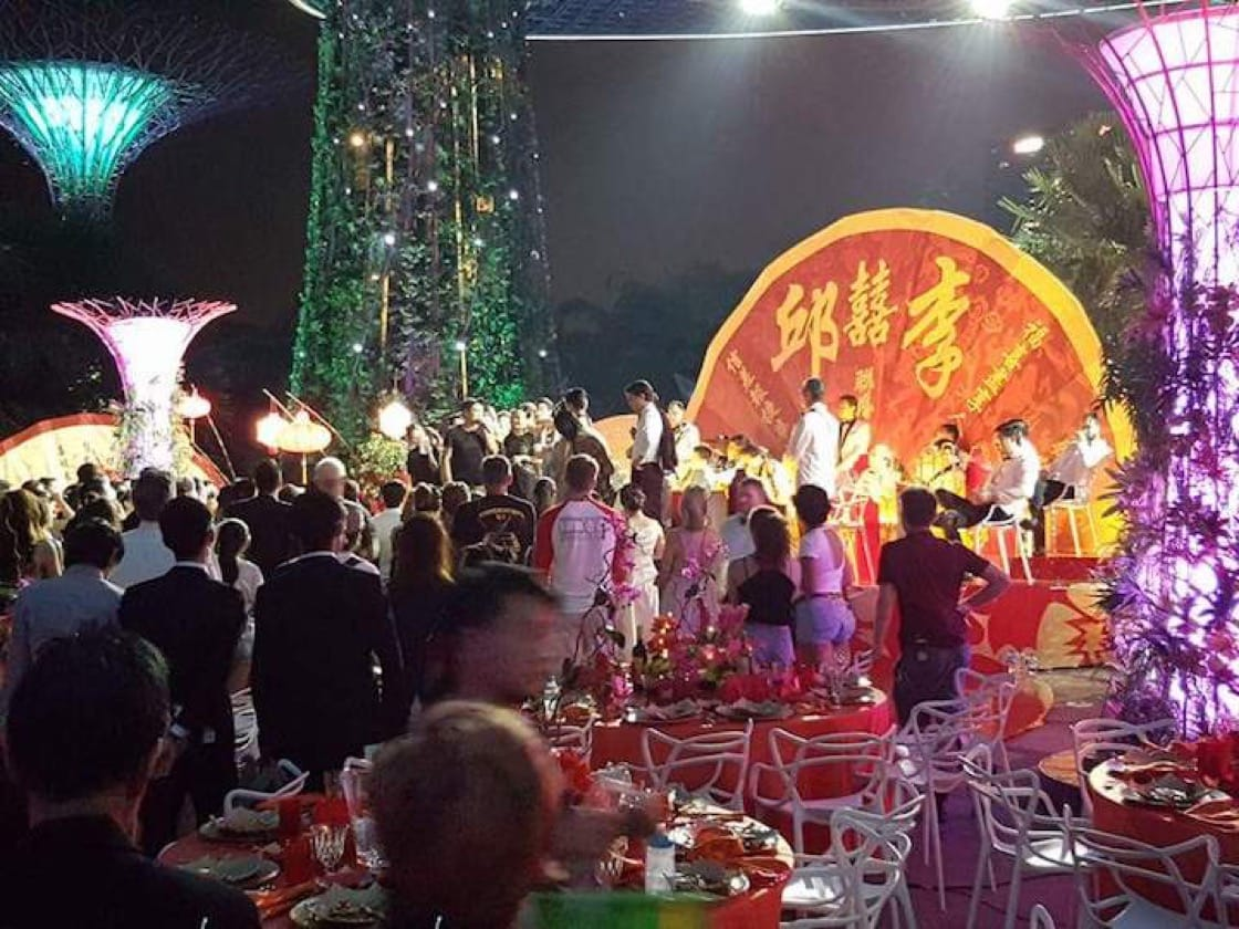 The wedding banquet scene was filmed over five days at Gardens By The Bay from 9:00 p.m. to 5:00 a.m. (Credit: John See.)