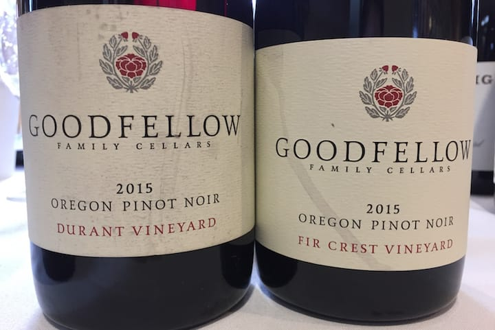 Some bottles from Oregon winery Goodfellow. (Photo by Erin Brooks.)