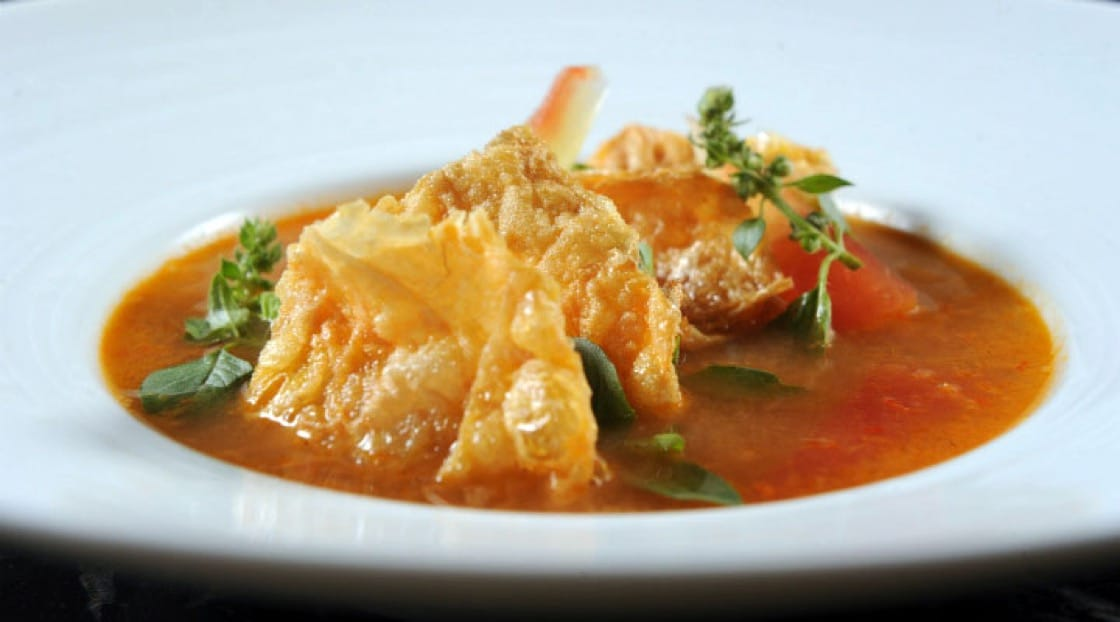 Watermelon rind and fish roe soup with sea bass and jicama dumplings, inspired by a recipe from Snidwongse Family Cookbook, 1968 (Pic: Paste Bangkok)