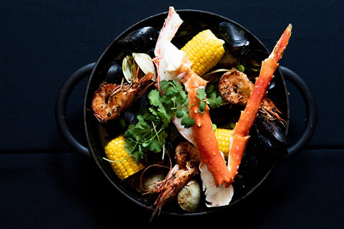 The Afropot features king crab, prawns, corn, clams, mussels and Chinese pork sausage.