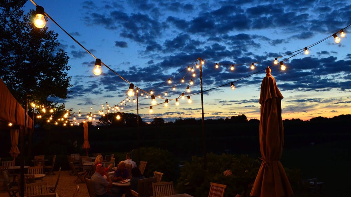 The outdoor patio at Wölffer Estate. (Photo courtesy of Wölffer Estate.)