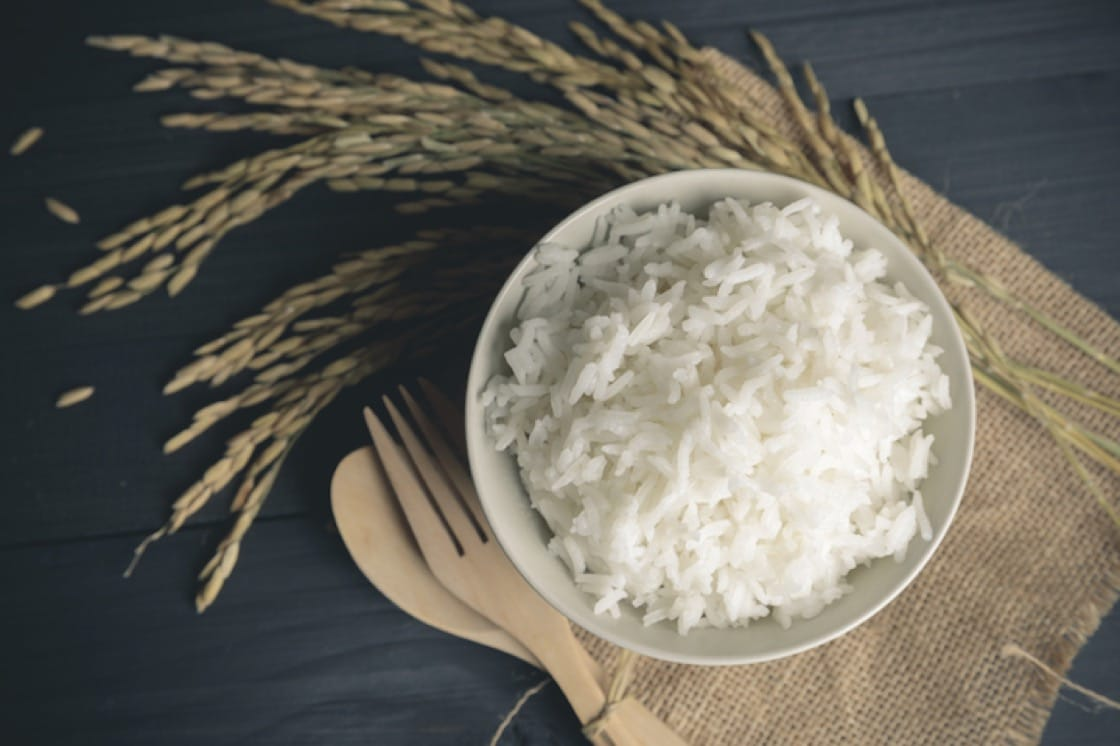 Jasmine rice gets its name from the gentle floral aroma that wafts out from the cooked grains. (Credit: Shuttlestock)