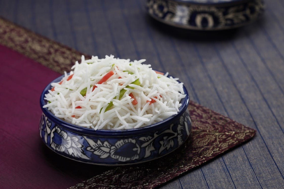 Basmati rice, which originates from India and Pakistan, can be commonly found in briyani. (Credit: Shuttlestock)