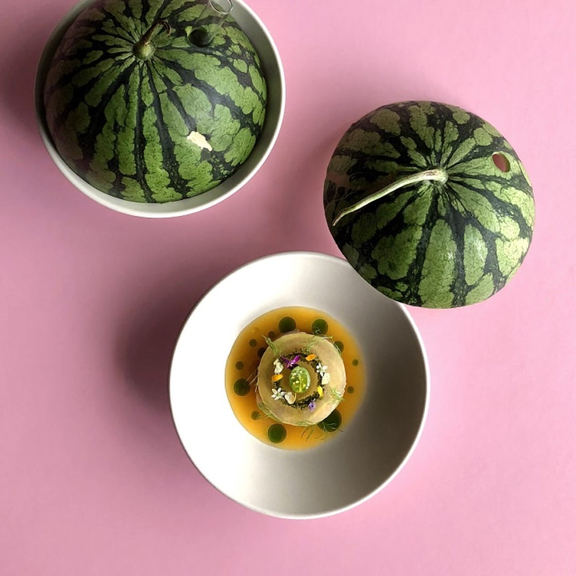 RAW夏季菜單之小玉西瓜/澎湖紅甘/紅心芭樂,Ben Branson搭配的是一款清新的「Smoked Watermelon Shrub」。