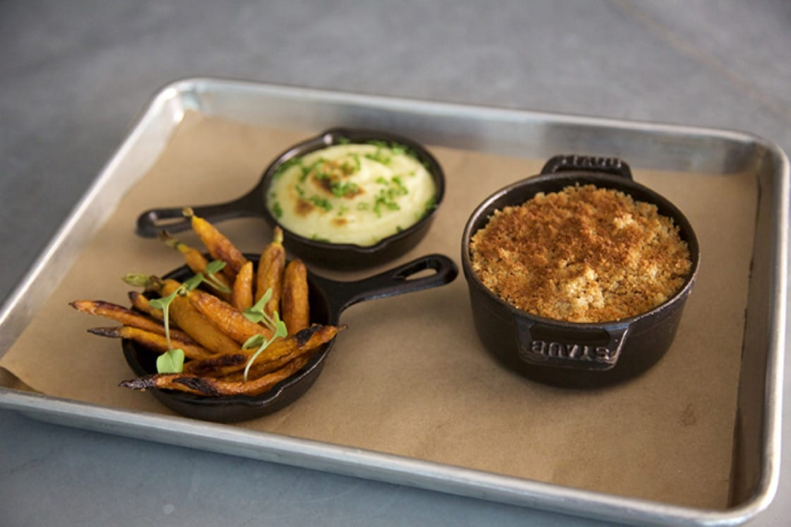 "The ""TV Dinner"" features mushroom farce, peas, carrots and pommes purée."
