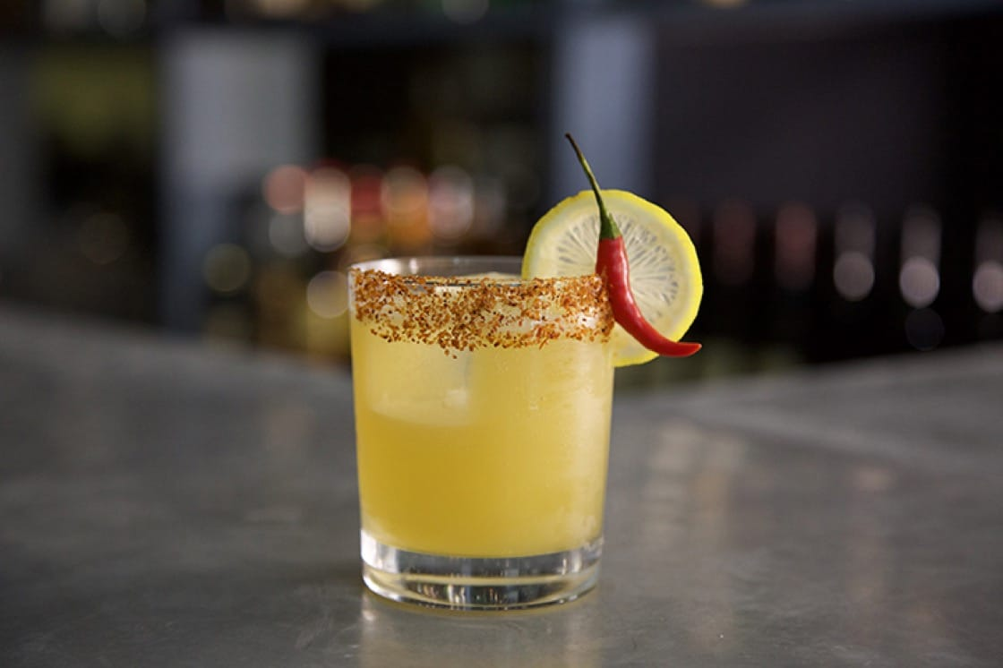 """The """"What They're Having"""" cocktail is a spicy riff on a Manhattan featuring overproof rye, Barolo Chinato, Strega liqueur and bird's eye chile."""