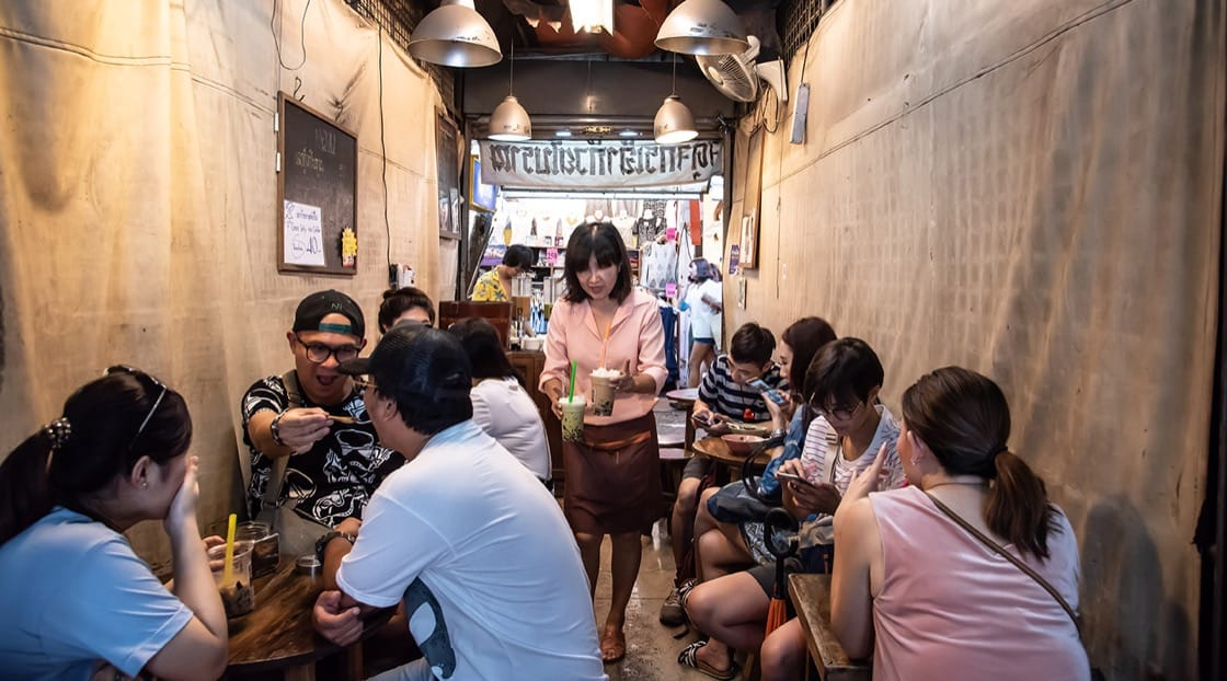 Chao guay boraan at Chatuchak weekend market - where shoppers come to cool down.