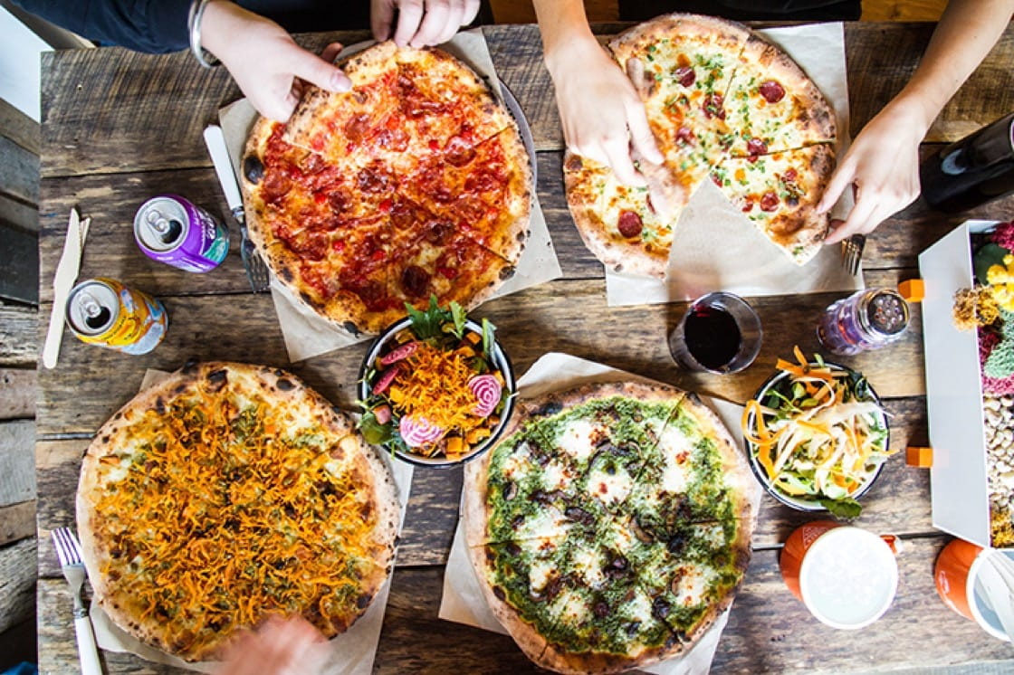 There are three types of pizza at Timber Pizza Company: red, white and green. (Photo courtesy of Timber Pizza Company.)