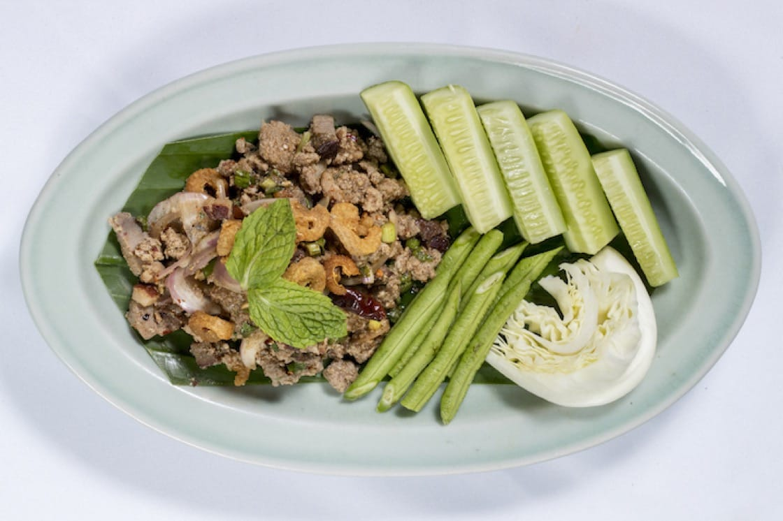 Sugarcane Smoked Duck Larb with Organic Red Sticky Rice