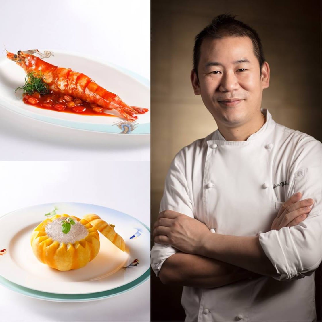 Chef Lam Yuk Ming and his two dishes: Deep-fried King Prawn Stuffed With Minced Bamboo Shrimp in Sweet And Sour Sauce and Chilled Bird Nest with Red Bean Paste in Organic Pumpkin. (Credit: Studio City Macau)