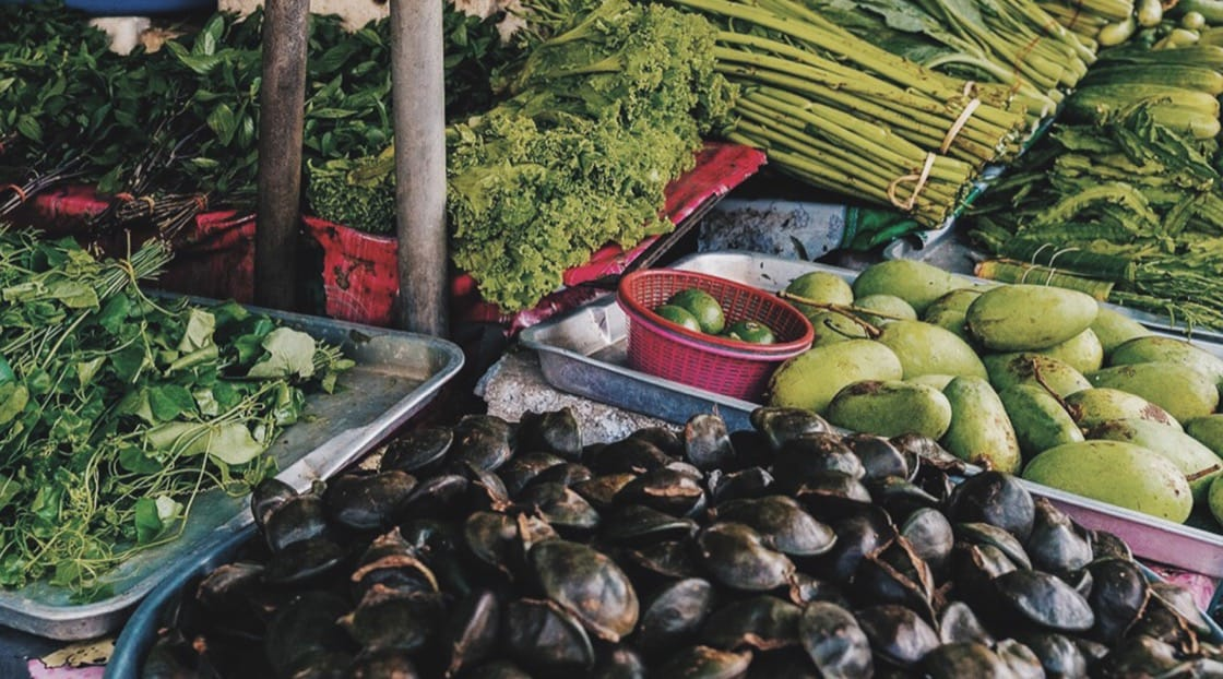 A display of local produce from a fresh market of Phuket Town. Photo credit: Angie Thien.