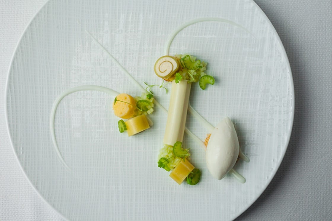 Green apple panna cotta at The Modern in New York City. (Photo by Nathan Rawlinson.)