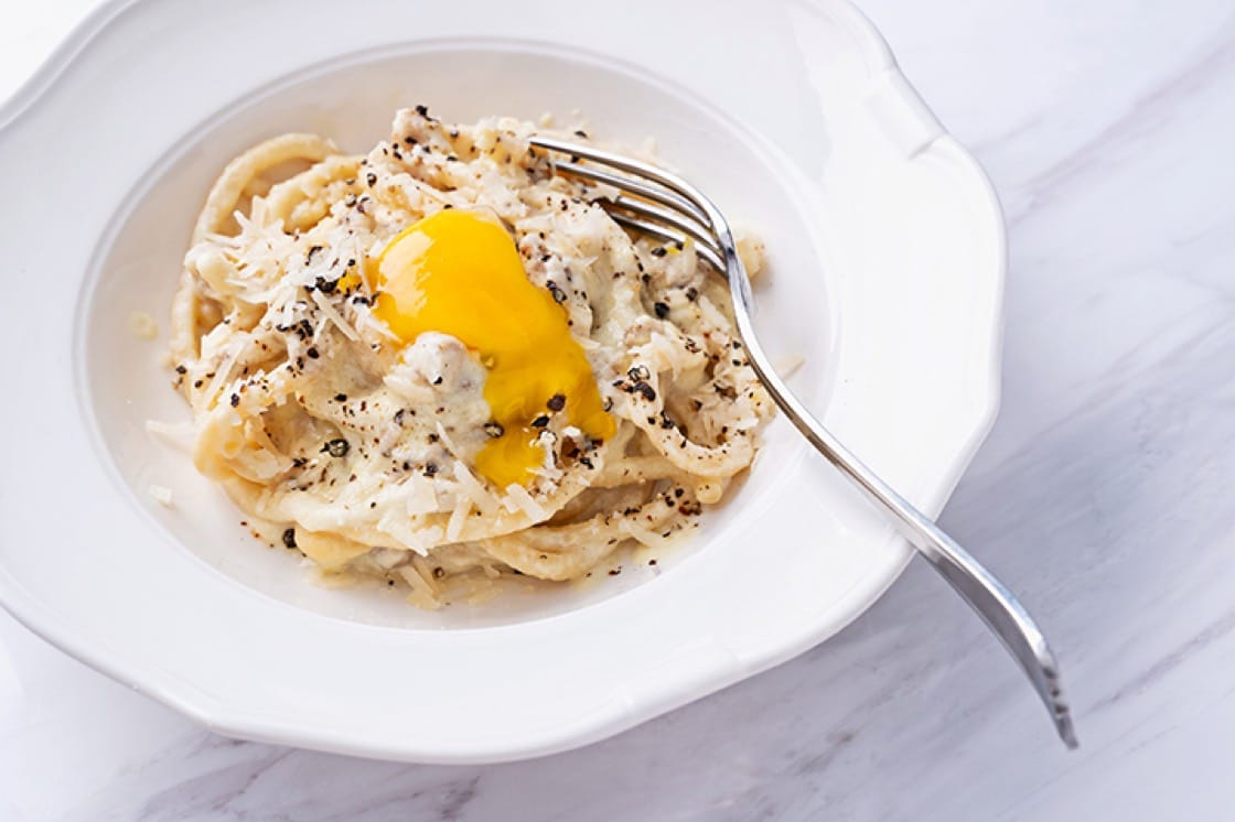 Spaghetti carbonara is one of the pastas offered at the trattoria.