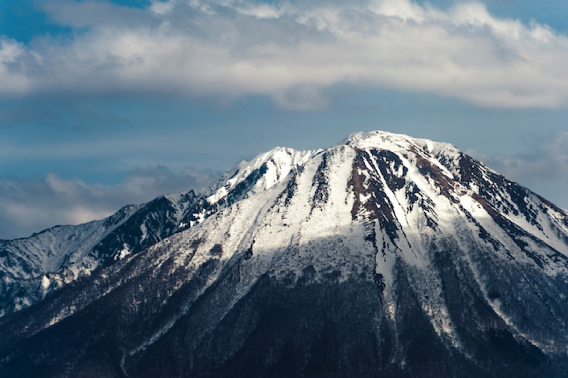 Snow-capped mountains during winter.