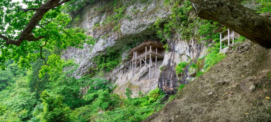The builder's genius in constructing Sanbutsu-ji on a cliff is almost unfathomable.