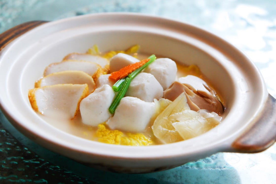 Homemade Fish Balls and Fish Cake Braised with 'Tianjin' Cabbage in Superior Broth (Pic: Chui Huay Lim Teochew Cuisine)