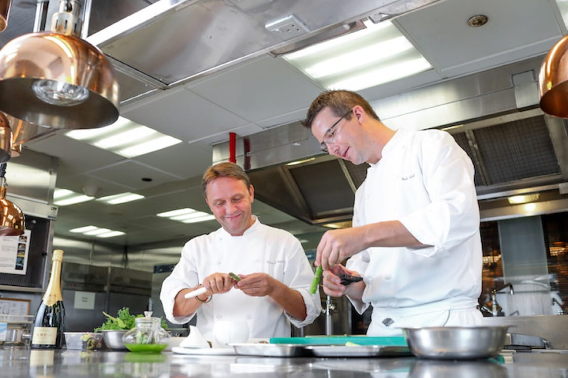 The Krug Room's executive chef Robin Zavou (left) and sous chef Reto Weber. (Photo credit: Mandarin Oriental, Hong Kong)