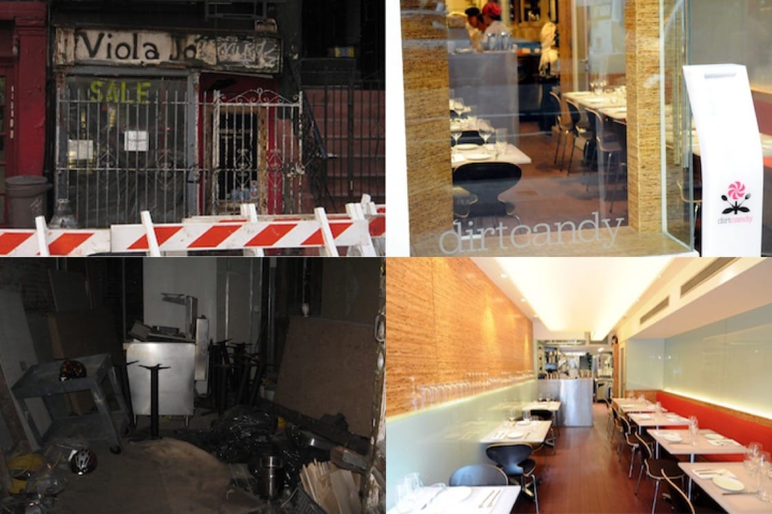The first location before and after renovations. (Photos courtesy of Dirt Candy.)