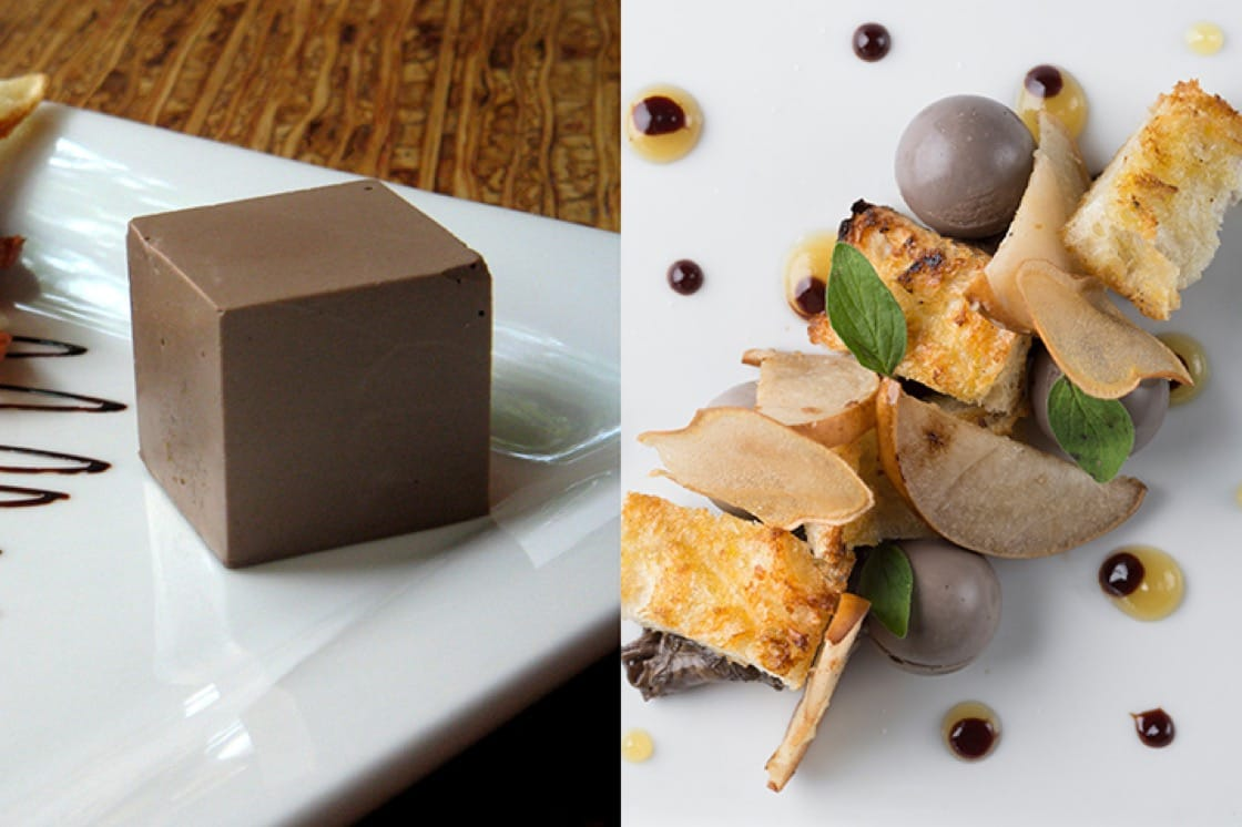 The portobello mousse then and now. (Photo on right by Evan Sung.)