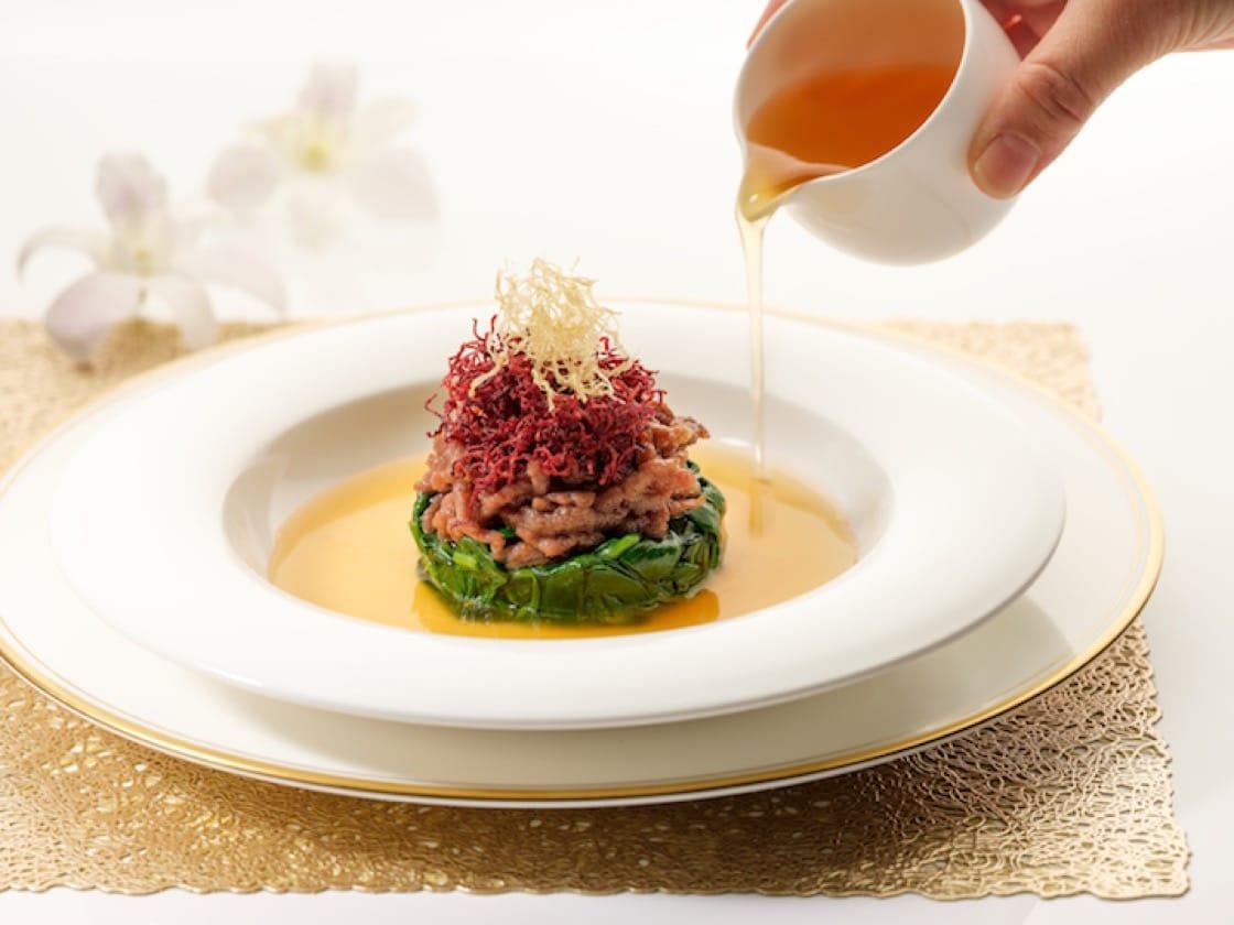 Braised Shredded Venison with Baby Spinach (Credit: Li Bai Cantonese Restaurant)