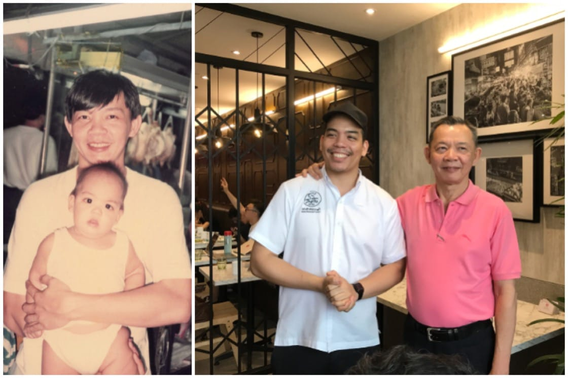 The father-son duo behind Go-Ang Pratunam Chicken Rice then and now (Pic: Go-Ang Pratunam Chicken Rice Singapore Facebook & MICHELIN Guide Digital)