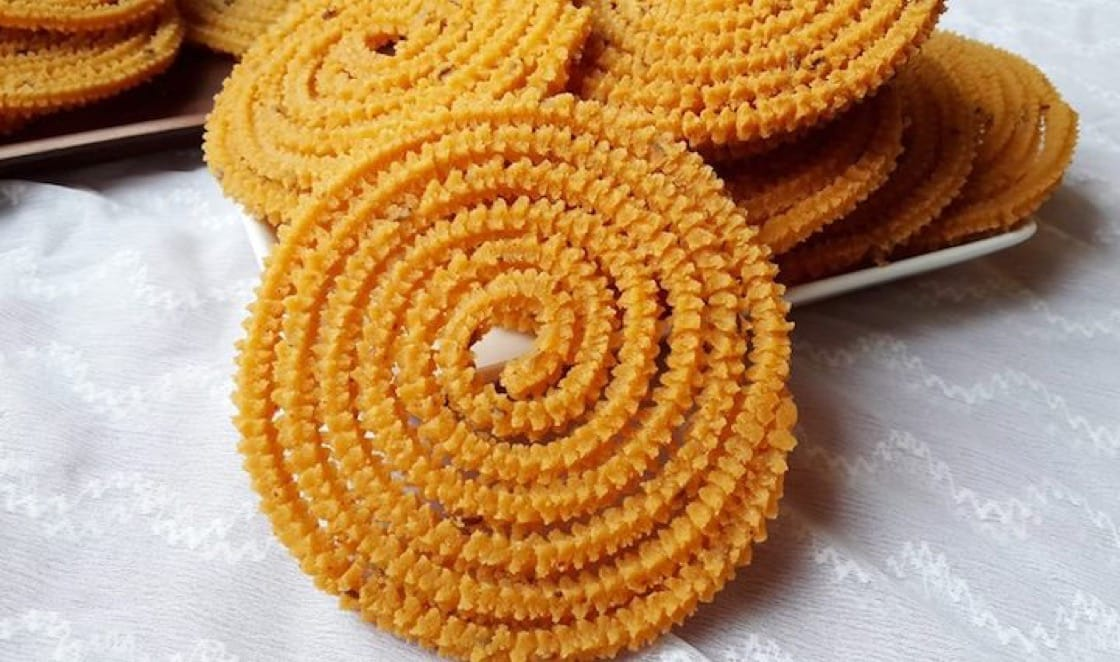 Chakli is a delicious spiral-shaped snack made with Bhajani flour (made with lentils, rice and spices). (Credit: Renju's Curry World)