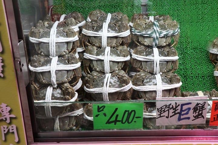 陽澄湖大閘蟹,質素較佳,但價升四成。(圖片:陳佳男)