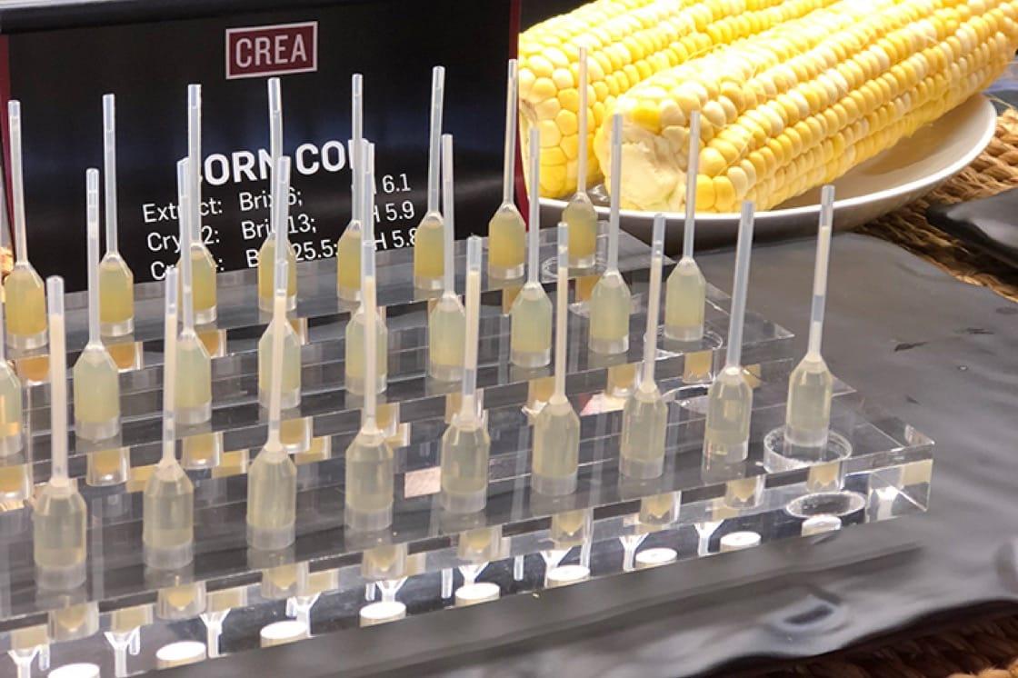 CREA人員針對多種產品進行了許多低溫濃縮的測試,包括玉米芯和玉米殼。(照片提供:Lani Furbank)