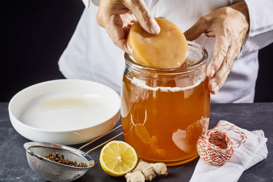 Kombucha is made by fermenting sweet tea with a Scoby, or symbiotic colony of bacteria and yeast (Pic: ShutterStock)