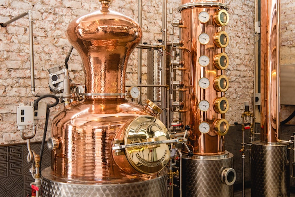 The 150-litre custom-made copper hybrid pot still is produced by German company Arnold Holstein. (Credit: Brass Lion Distillery)